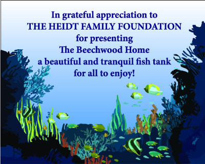 Heidt Family Foundation Donates Salt Water Aquarium to The Beechwood Home